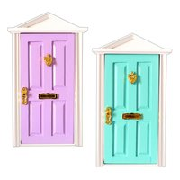 2pcs 1:12 Scale Dollhouse Furniture Wooden Doors with Metal Knocker Miniature Doll House Accessories Toys Gift for Children