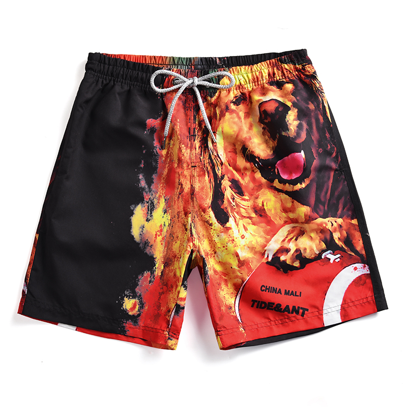 2019 Newest Men's Fire Dog Printed   Board     Shorts   Boy's Novelty Swim Trunks Man Loose Surfing Beach   Shorts   Maldives Swimwear   Short