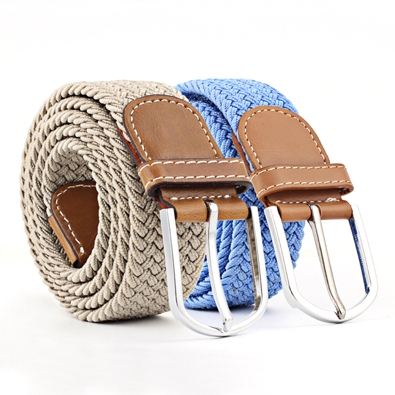Canvas strap Women 2018 New Unisex pin buckle 1PC Men elastic   belt   knitted canvas Clothing Accessories decoration   belt   Solid