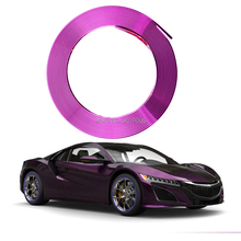 smRKE 8M Eye Catching Purple Car Wheel Hub Rim Edge Protector Ring Tire Guard Rubber Sticker Styling