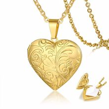 Floral Embossed Heart Locket Necklace Floral Locket Romantic Love Locket Mother's Day Girlfriend Gift Golden Stainless Steel(China)