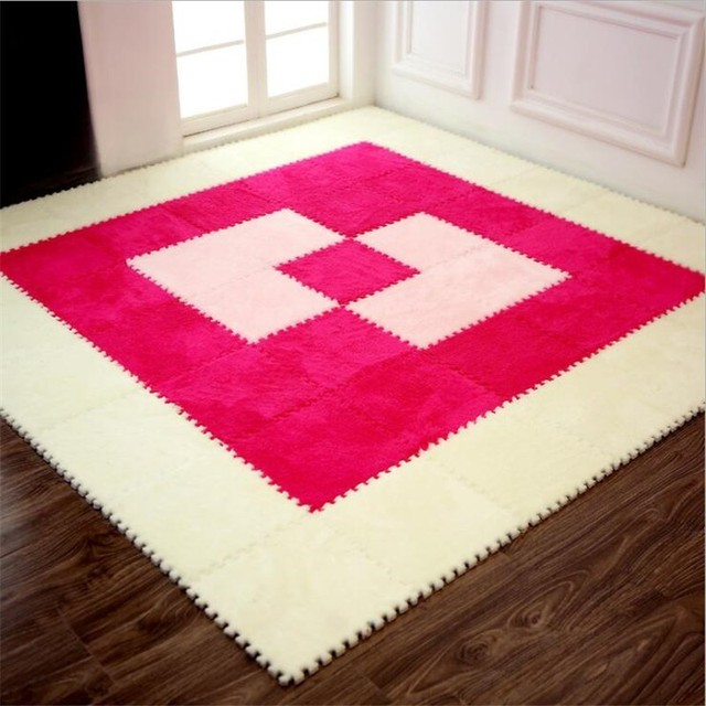 1PC 30x30cm Floor Mat DIY Shu Velveteen EVA Foam Puzzle Suede Mat Plush Soft Rug Door Mat Carpet for Living Room Kid Playmat