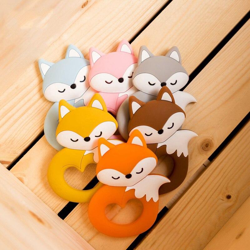 Let's Make Silicone Animal Teether Fox Shape Food Grade Cartoon Silicone DIY Nursing Teething Cute Fox Silicone Patent 6pc /lot