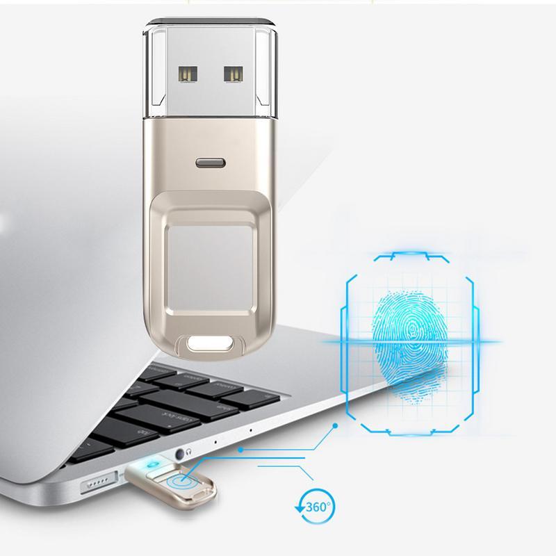 Cryptage d'empreintes digitales U disque 32G 64G métal innovant Mini cryptage U disque USB portable clés USB stockage de données adaptateur de voiture