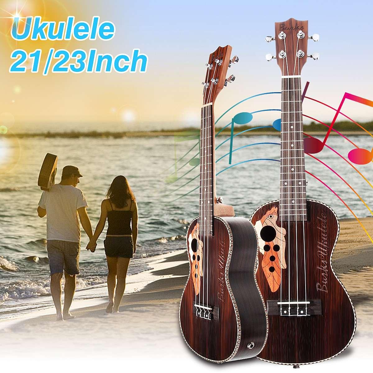 21 pouces 23 pouces 4 cordes électro boîte Concert ukulélé acoustique Instrument de musique basse guitare Guitarra avec intégré égaliseur pick-up