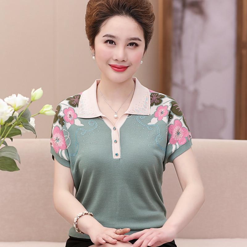 Printemps été décontracté col rabattu chandails minces mode à manches courtes imprimé pulls tricotés chandails Top grande taille