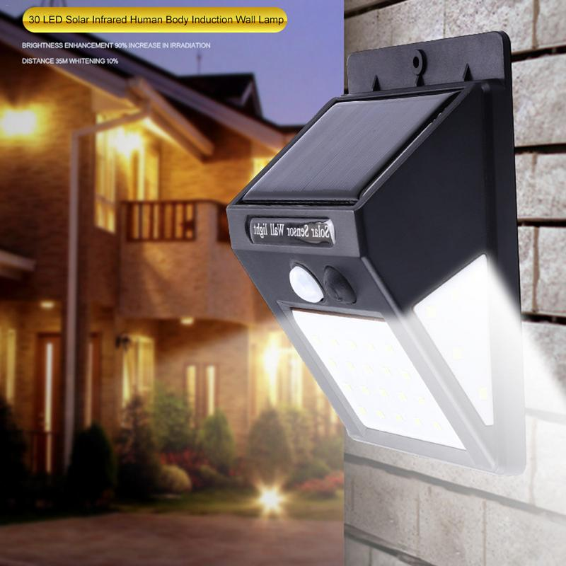 30 LED Solar Energy Infrared Human Body Induction Wall Lamp Rainwater-proof Intelligent Resistant High-light Ball Courtyard Lamp