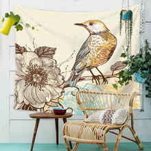 Chinese Style Flower Bird Wall Tapestry Boho Decor Vintage Hanging Tapestries Carpet Throw Cover Blanket Home