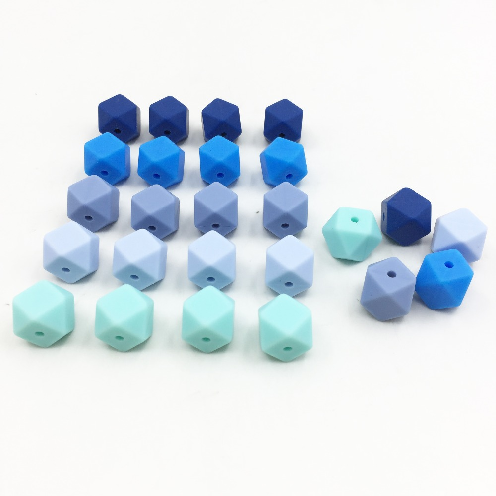 Image 4 - 100 Pcs Silicone Teething Beads Hexagon 13mm Nursing Chew Necklace Diy Jewelry Findings Bpa Free Teether Beads For Baby woodenBaby Teethers   -