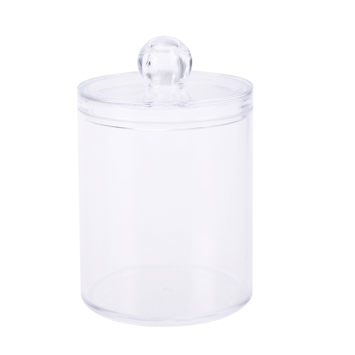 Plastic Canister Clear Round Cosmetics Jewelry Cotton Ball Swab Makeup Holder Box Container Storage Case Organizer