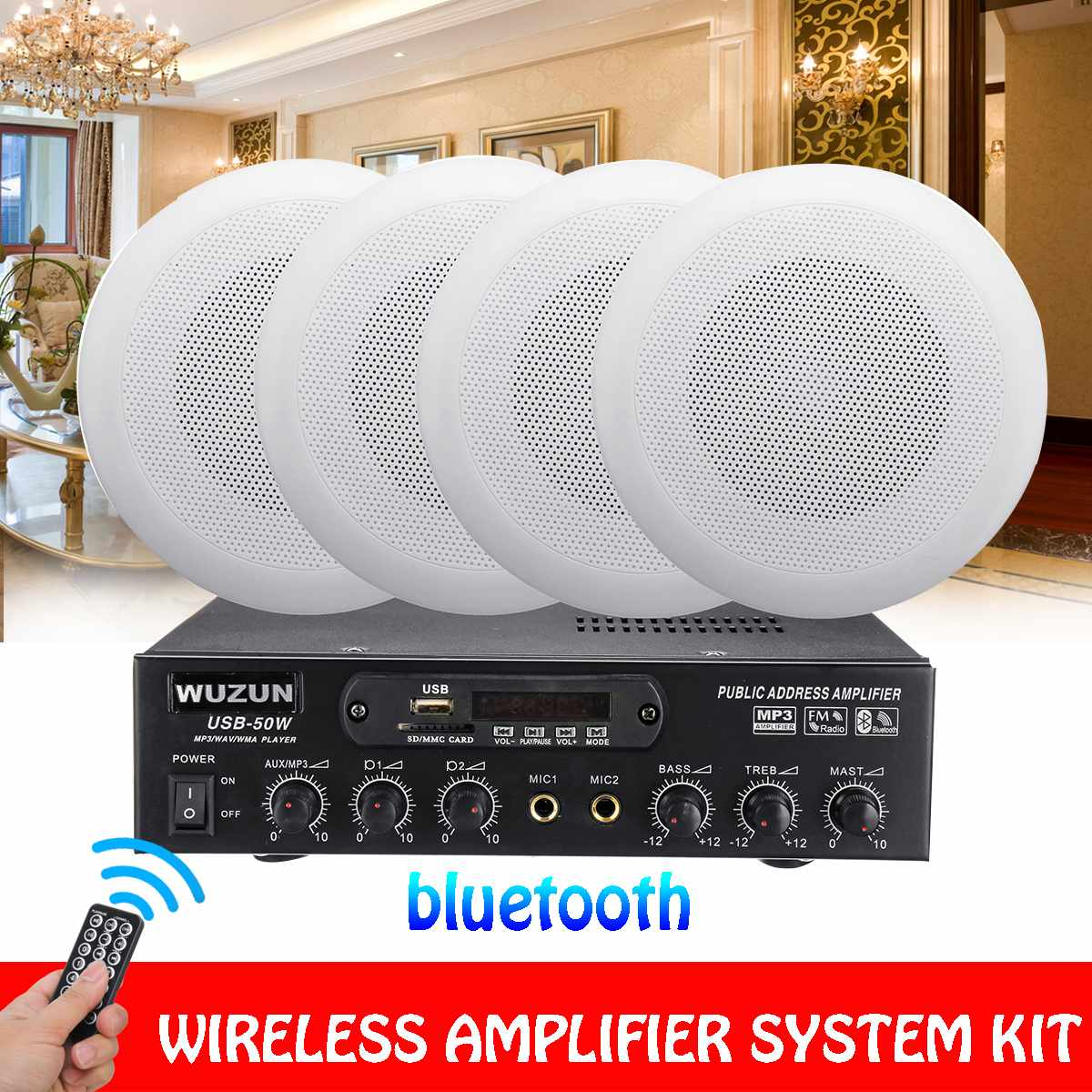 12 В/220 В HIFI аудио bluetooth усилитель сабвуфер стерео FM радио дома ТЕАТР автомобиля усилители домашние потолок динамик системы комплект