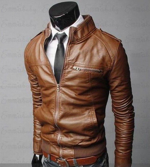 Mens Classic Motorcycle Leather Jacket 1