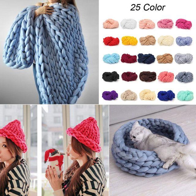 e7d0766b6d3 Merino Wool Alternative Chunky Yarn DIY Bulky Arm Knitting Blanket Hand  Knitting Spin Yarn Crocheting Hat Scarf 250g