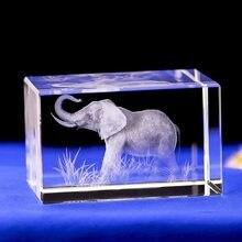 Artesanato de cristal 3d esculpida cristal modelo animal elefante africano lembranças turísticas móveis para casa