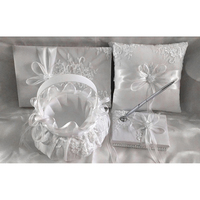 1set Classic White Embroidery Lace Flower Basket+Ring Pillow+Sign Book+Pen Brand New Satin Gifts Suitable For Wedding Parties