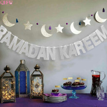 Ballons décoratifs pour Ramadan et aïd | Décoration pour aïd Bjd Eid Mubarak, bannière en papier pour MUBARAK, décor du RAMADAN musulman