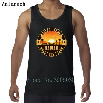 Hawaii Oahu Sun Sand Surfings Beach Vests Slogan Designing Outfit Tank Top Men Sunlight Singlets Funny Casual High Quality