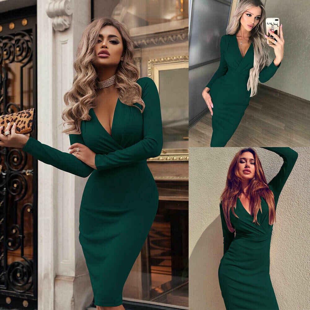 Mode femmes été à manches longues Bandage Stretch moulante plaine profonde V soirée courte robe Beige noir vert rouge