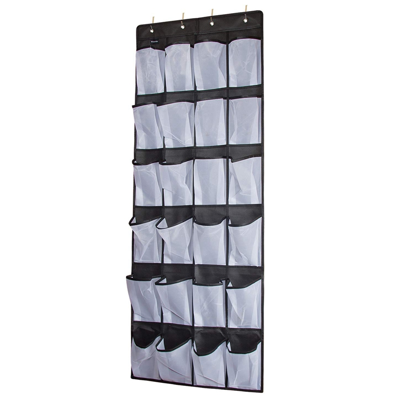 Clear Hanging Shoe Organizer Over The Door 24 Large Pockets to Keep Shoes and Bottles