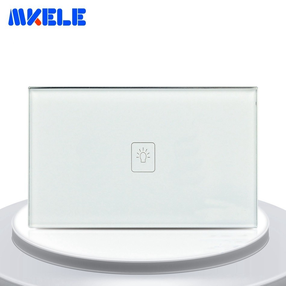 Touch Switches 1 Gang 2 Way White Crystal Glass Panel US Standard Light Switch Touch Screen Wall Switch Socket For LampTouch Switches 1 Gang 2 Way White Crystal Glass Panel US Standard Light Switch Touch Screen Wall Switch Socket For Lamp