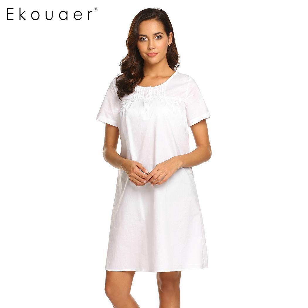 Ekouaer   Nightgown   Women   Sleepshirts   O-Neck Short Sleeve Button Lace Nightdress 100% Cotton Sleepwear Homewear Dress