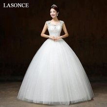 LASONCE Illusion Crystal Scoop Neck Lace Appliques Ball Gown Wedding Dresses Sequined Tank Backless Bridal Gowns