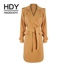цены на HDY Haoduoyi 2019 Ginger Epaulettes Waist Knot Hem Open Safari Trench Coat For Female Natural Leisure Style Winter Autumn  в интернет-магазинах