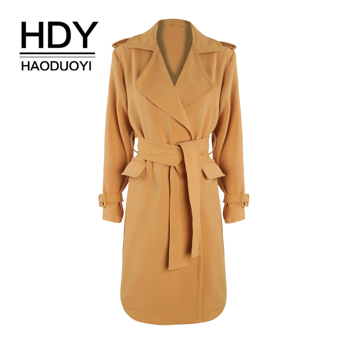 HDY Haoduoyi 2019 Ginger Epaulettes Waist Knot Hem Open Safari   Trench   Coat For Female Natural Leisure Style Winter Autumn