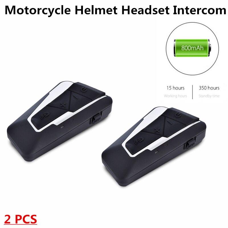 T9S casque de moto casque 1200 m interphone 2 Interphones Bluetooth 3.0 IPX6 étanche 15 heures de temps de travail Support musique FM