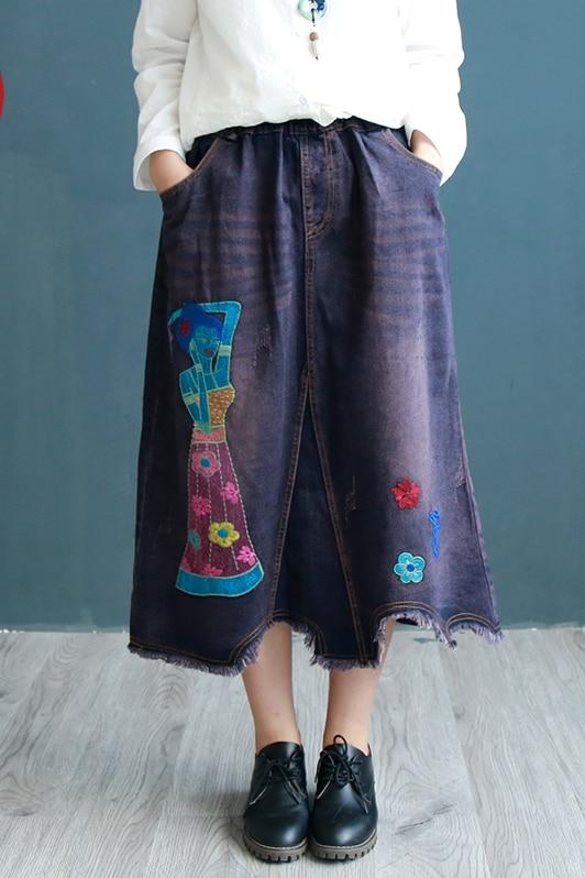 Embroidery Pockets Style Autumn ewq Elastic Women New Patchwork Fashion Denim Ac78805 Skirt Waist Winter Navy Asymmetry Blue Casual 2018 PqpHqIxS