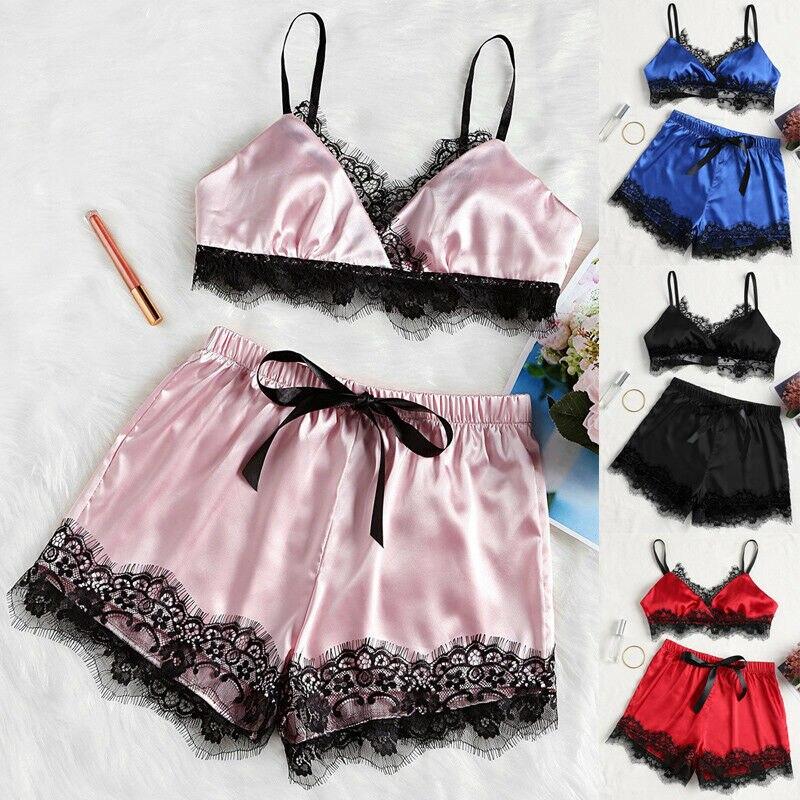 Summer Sexy Satin Lace Pajama Sets V-Neck Bra+Shorts Female Sleepwear Nightwear Pajamas Comfy Lingerie Set Solid Color