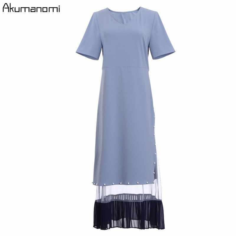 Yaz elbisesi 2019 Artı Boyutu 5xl-l Mavi V Yaka Kısa Kollu A-line Orta buzağı Inci Örgü Hem Kadınlar Parti Elbise Kart paketi Elbise Femme