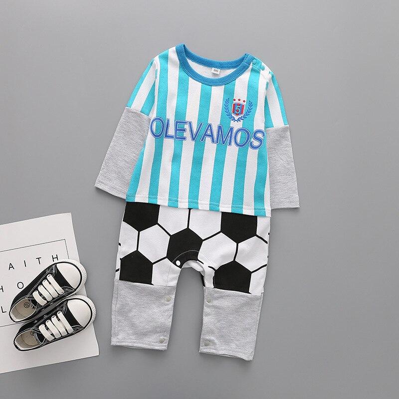 Весенний и осенний сезон мужской девушка Одежда для малышей Ha. Детское платье в полоску с длинными рукавами и принтом футбольного движения