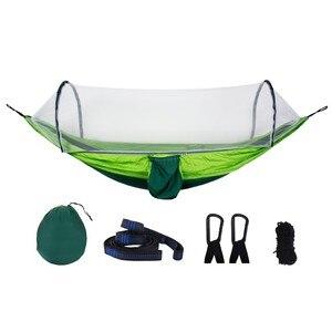 Image 2 - アーミーグリーンクイックオープンハンモック蚊屋外キャンプ椅子ポータブル大睡眠ハンモック