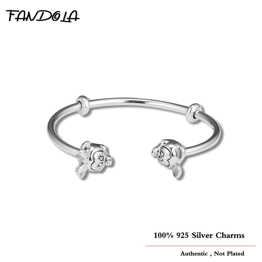 Hiver Nouveau 100% 925 Sterling Argent Souris Ouvert Bracelet Fabrication de Bijoux Sterling-Argent-Bijoux Manchette Charms Bracelets Pour femmes
