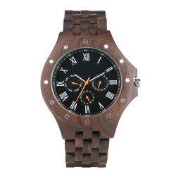 100% drewniany zegarek męski Case Casual wyświetlanie kalendarza zegarki męskie Wood Band zegarki męskie zegary prezenty|Zegarki kwarcowe|   -