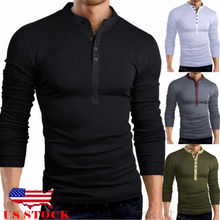 311430e33440 Mens Slim Fit V Neck Long Sleeve Muscle Tee T-shirt Casual Tops Henley  Shirts