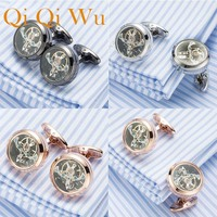3 Colors jewelry shirt cufflink for mens Brand cuff buttons watch movement cuff link Top Quality abotoaduras Free Shipping