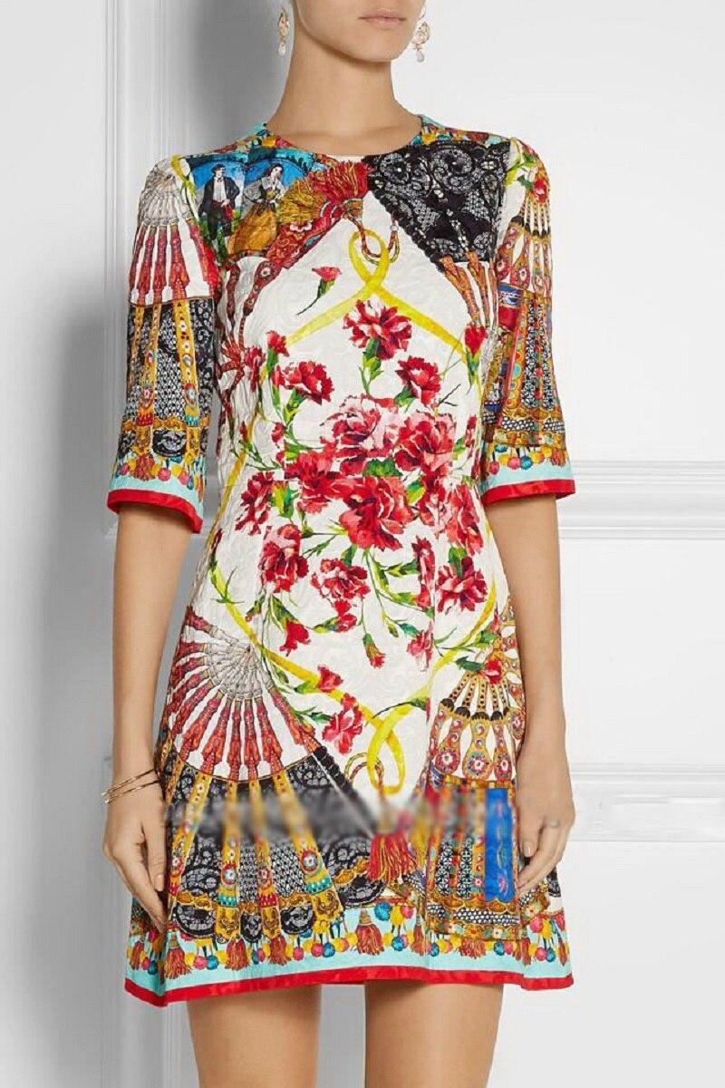 2019 Summer Vintage Floral Print Women Dresses Runway Designer Half Sleeve Ladies Christmas Mini Dress Elegant Clothing