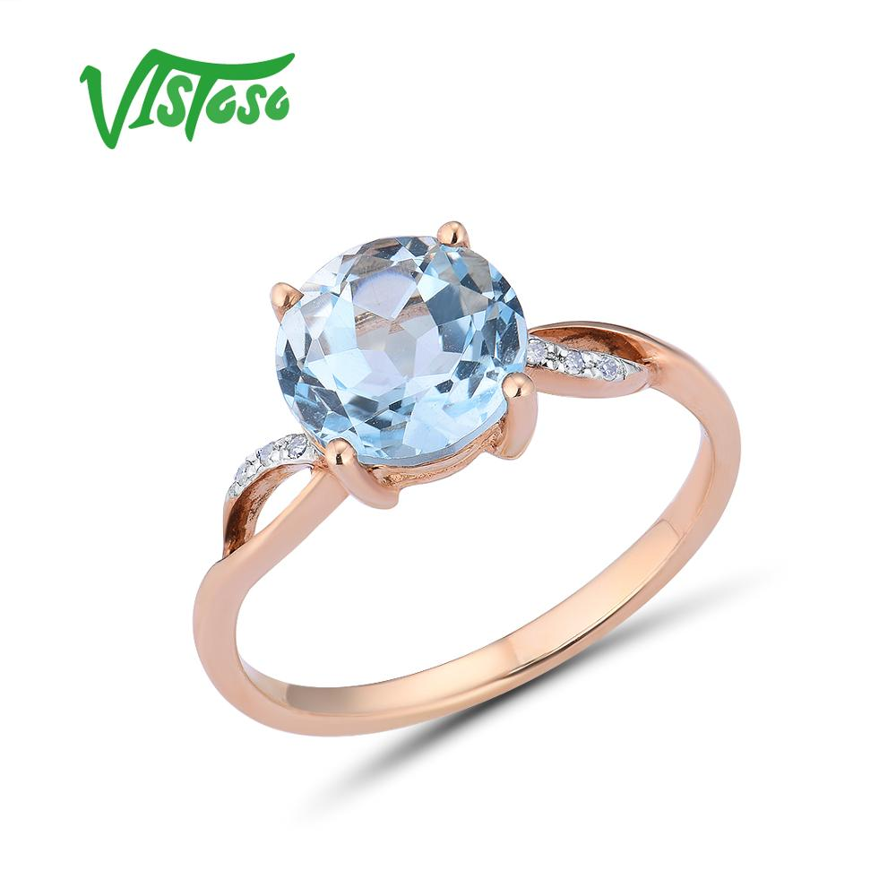 VISTOSO Gold Rings For Women Genuine 14K 585 Rose Gold Ring Sparkling Diamond Sky Blue Topaz Wedding Anniversary Fine Jewelry