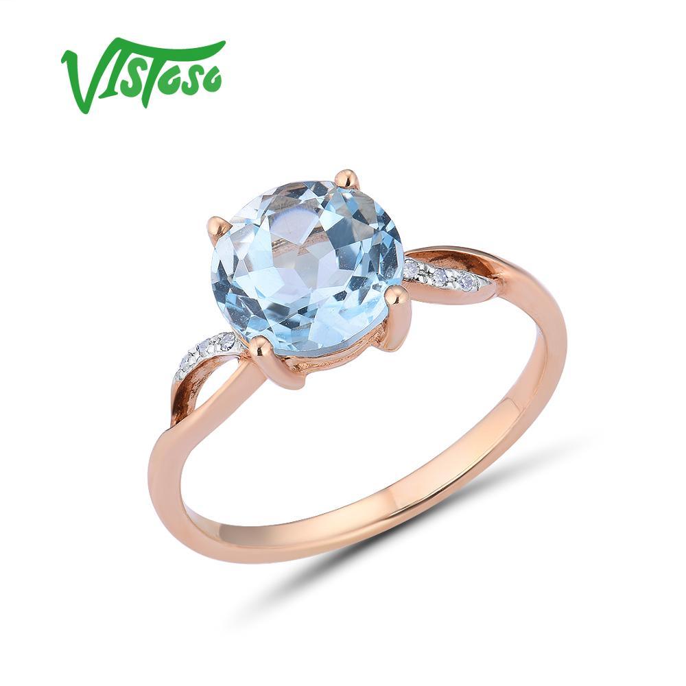 VISTOSO Gold Rings For Women Genuine 14K 585 Rose Gold Ring Sparkling Diamond Sky Blue Topaz Wedding Anniversary Fine Jewelry