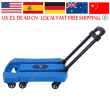6 Wheels Folding Portable Telescopic Handle Cart Blue Household Shopping Trolley for Car Travel Accessory Luggage Shipping Troll(China)