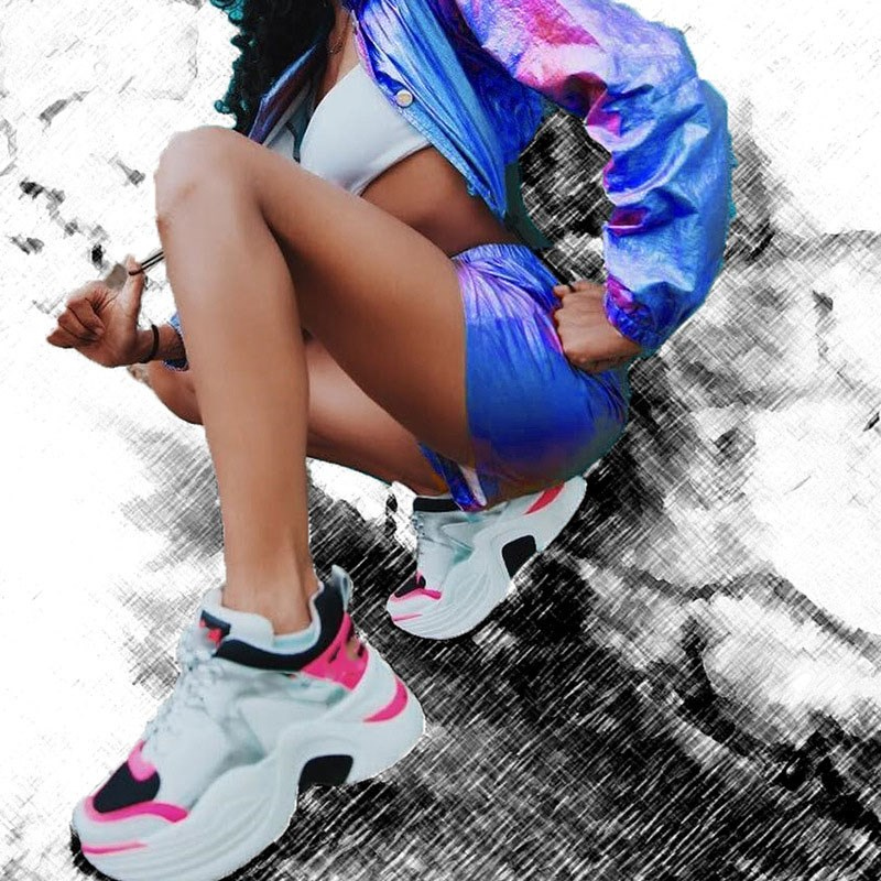 2019 Summer Club Party Bottom Shorts Bling Dance Holographic Short Pants Women Fashion Feminino Elastic High Waist Shorts in Shorts from Women 39 s Clothing