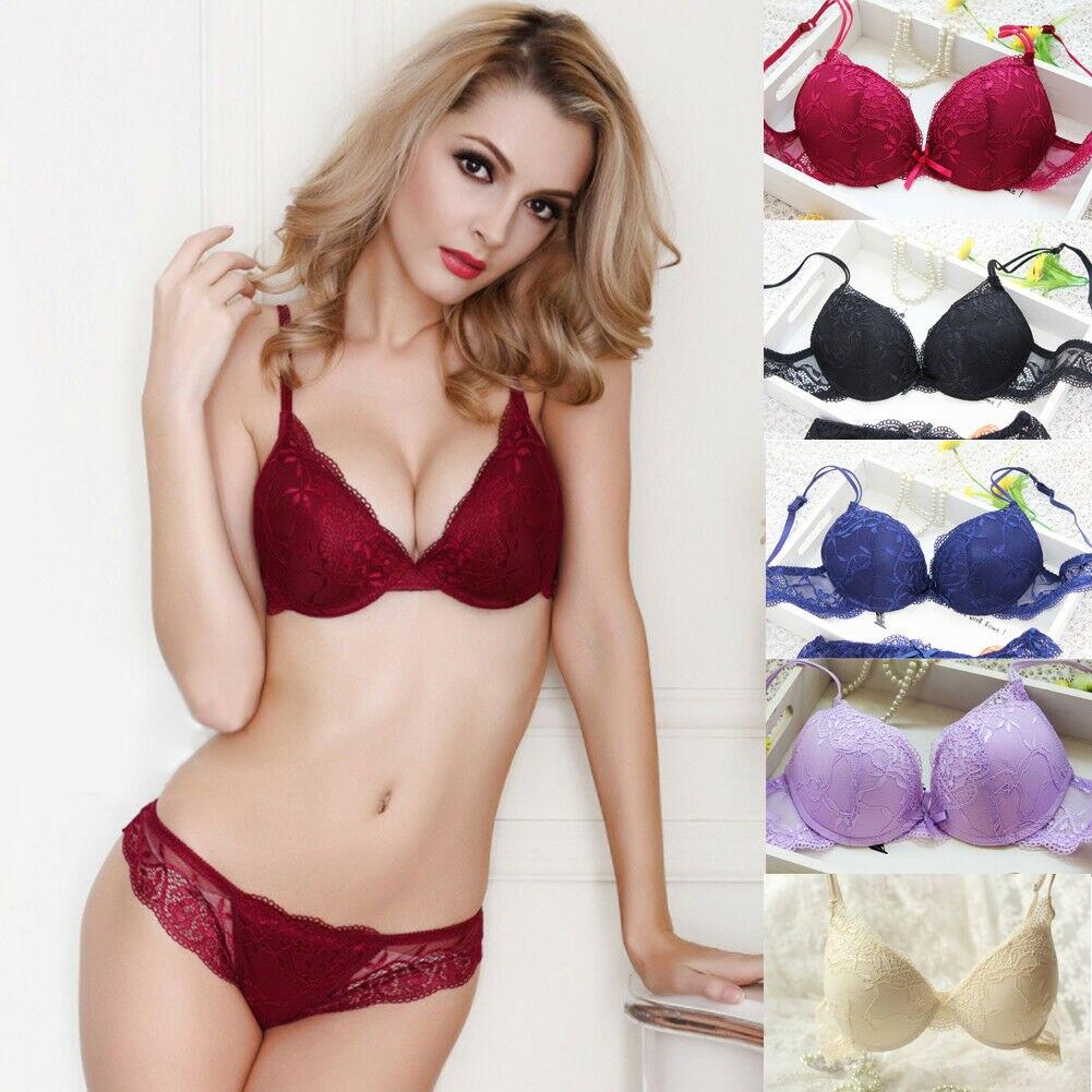 Women Push Up   Bra     Brief     Sets   Lace Transparent   Bra   And Panties Ladies Underwire   Bra   Lingerie Knickers   Sets