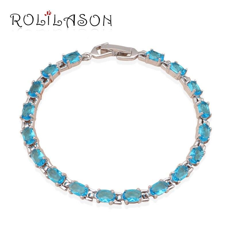ROLILASON просто шик Стиль морской синий кристалл циркона для женщин серебряный браслет ювелирные изделия Свадебные предметы TBS728