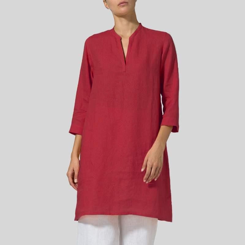 VONDA Women Blouses Shirts 2018 Autumn Casual Loose V-Neck 3/4 Sleeve Pockets Solid Long Blouse Plus Size Elegant Blusas Tops