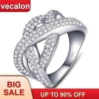 Vecalon женское кольцо бесконечность 925 серебро 5A Циркон Cz Крест обручальные Обручальные кольца для женщин украшения для пальцев