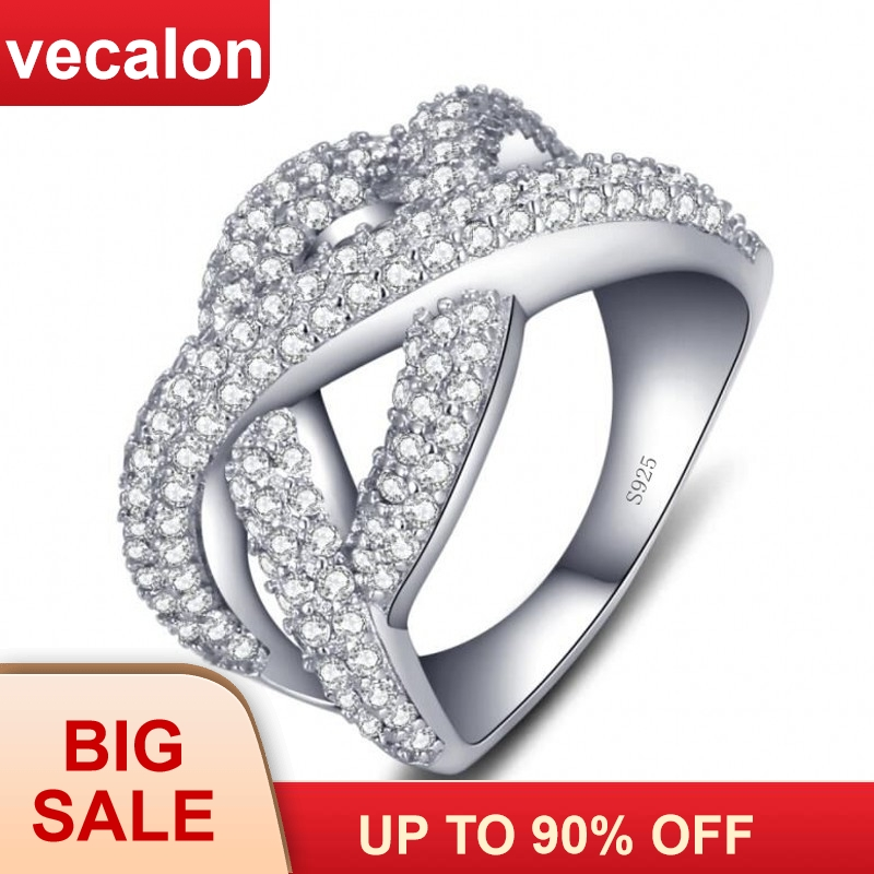 Vecalon Female infinity Ring 925 Sterling Silver 5A Zircon Cz Cross Engagement Wedding Band rings for women Finger Jewelry