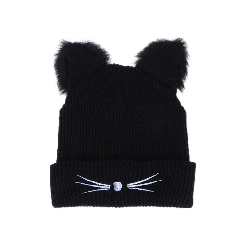 Warm Black Knitted Winter Hat Femme Woolen Braided Fur Hat for Women Cute Cat Ears Hat   Skullies   Hats Female Bonnet Pompom Caps