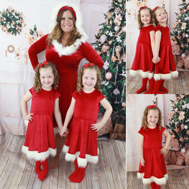 Mother Christmas.Us 2 93 13 Off Brand New Christmas Mother Daughter Dress Santa Velvet Xmas Family Matching Clothes In Matching Family Outfits From Mother Kids On